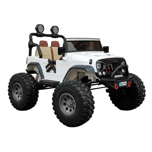 Auto na Akumulator Jeep MEGA typ Biały 4x4 Amortyzatory