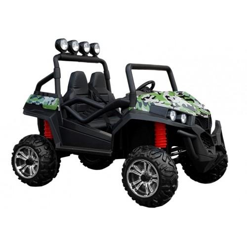 Auto na Akumulator Buggy 2-osobowy Amortyzatory, do 60Kg Zielony Lakierowany Moro