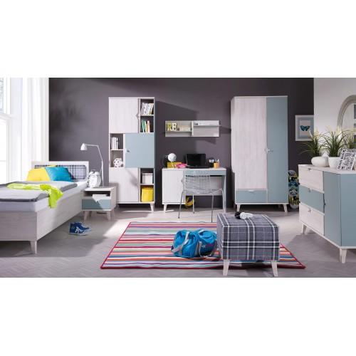 Kolekcja Focca V - komplet mebli młodzieżowych, szafa, biurko, komoda, łóżko, szafka nocna, regał, półka
