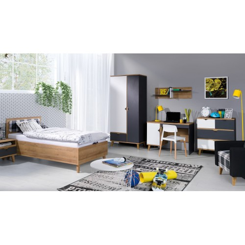 Kolekcja Focca VI - komplet mebli młodzieżowych, szafa, biurko, komoda, łożko, szafka nocna, półka