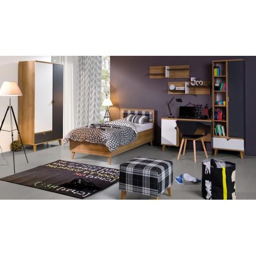 Kolekcja Focca VII - komplet mebli młodzieżowych, szafa, biurko, łóżko, regał, półka