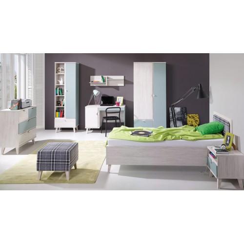 Kolekcja Focca VIII - komplet mebli młodzieżowych, szafa, biurko, komoda, łóżko, regał, półka, stolik nocny
