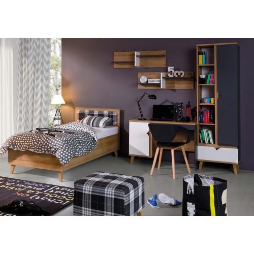 Kolekcja Focca IX - komplet mebli młodzieżowych, biurko, łóżko, regał, półka