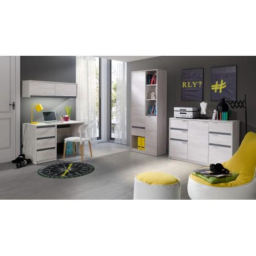 Kolekcja Husky IV - komplet mebli młodzieżowych do salonu, biurko, komoda, regał, półka