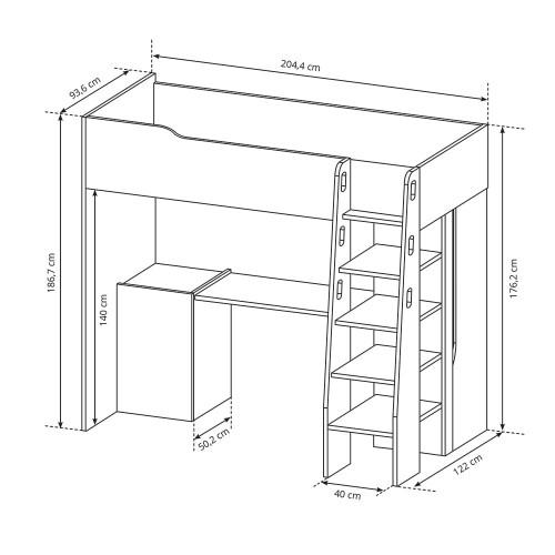 Łóżko piętrowe Borys B01