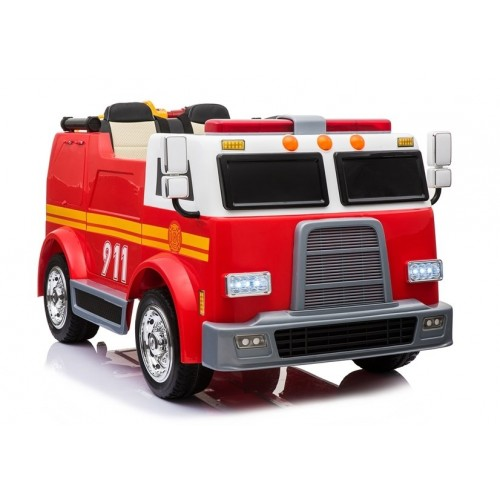 Duży Wóz Strażacki na Akumulator Czerwony Dla Dzieci 2-osobowy