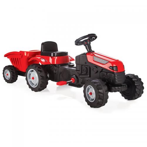 WOOPIE Traktor MAX na pedały z przyczepą czerwony