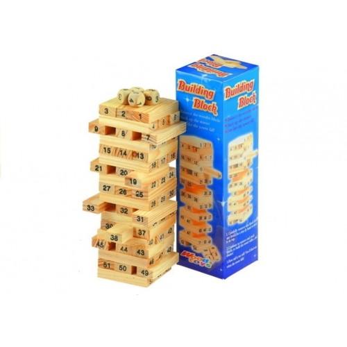 Drewniana Układanka Wieża Jenga Liczby Zręczność