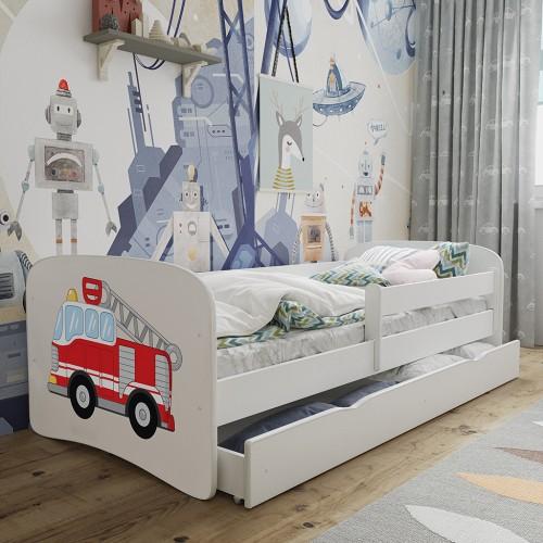 Łóżko Fernando Łóżeczko z nadrukiem, grafiką, obrazkiem- Super Straż Pożarna