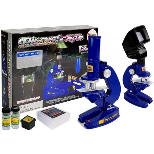 Mikroskop Dziecięcy Edukacyjny Naukowiec Niebieski 100x 200x 450x