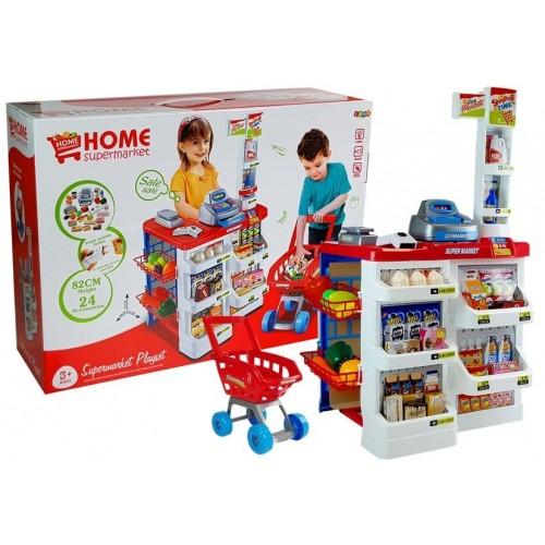 Zabawkowy Market z Wózkiem Kasa Fiskalna Skaner Artykuły Spożywcze Zakupy