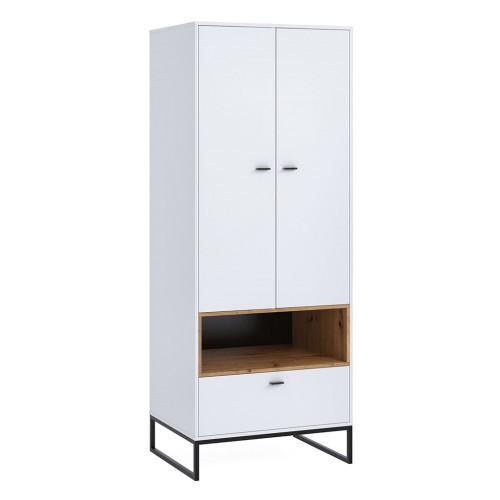 Szafa dwudrzwiowa Elwiners EL8 - styl loftowy industrialny do sypialni pokoju młodzieżowego salonu przedpokoju
