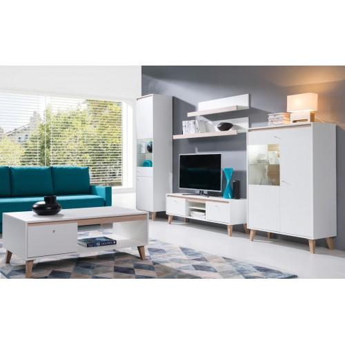 Kolekcja Chan VI - zestaw mebli do salonu witryna szafka RTV półka komoda stolik