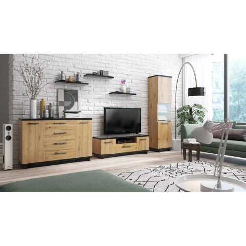 Kolekcja Home-Chic II - zestaw mebli do salonu szafka RTV półki witryna komoda