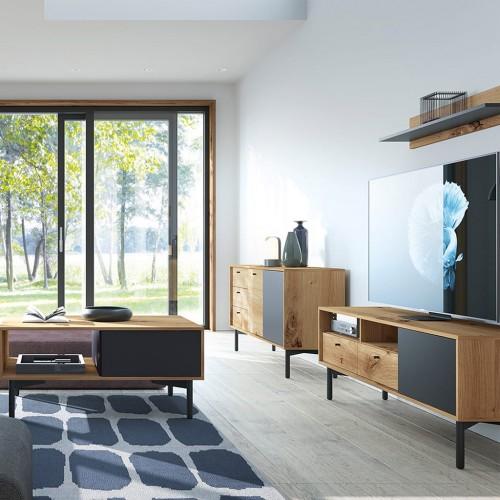 Kolekcja EBI V - zestaw mebli do salonu szafka RTV półka komoda ława