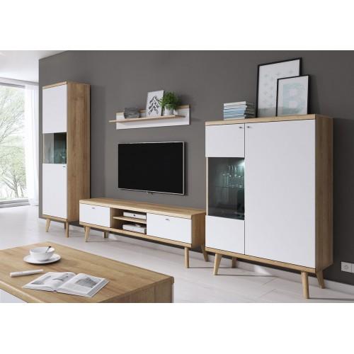 Kolekcja Giappo IV - zestaw mebli do salonu szafka RTV półka witryna