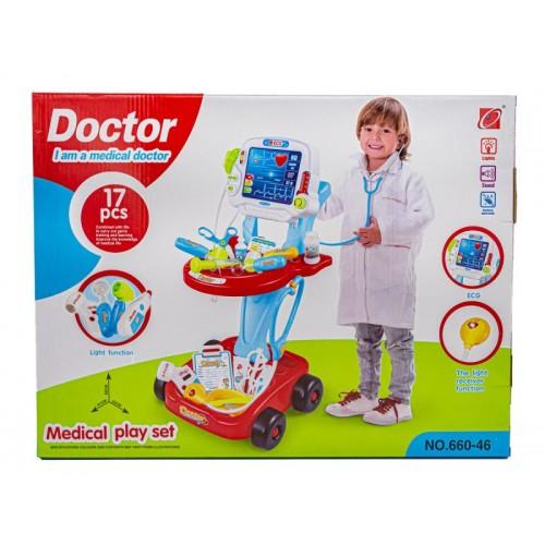 Wózek Lekarski Z Akcesoriami Czerwony