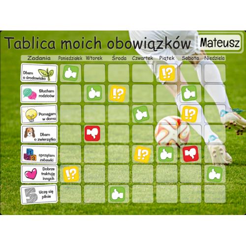 Tablica Magnetyczna, Mata Motywacyjna Dla Dzieci Piłka Nożna