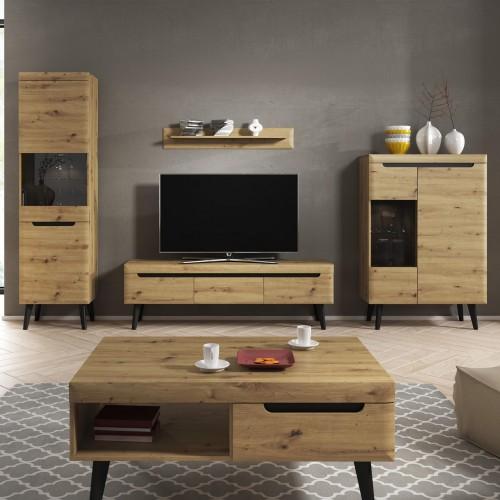 Kolekcja Endeka III - zestaw mebli do salonu witryna szafka RTV półka ława