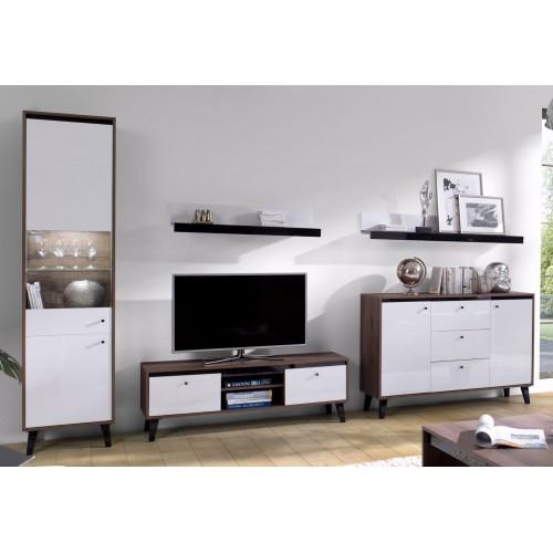 Kolekcja Fotyn Gloss II - zestaw mebli do salonu witryna szafka RTV komoda półka
