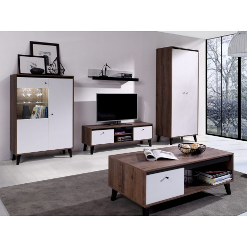 Kolekcja Fotyn Gloss VII - zestaw mebli do salonu witryna szafa szafka RTV ława półka