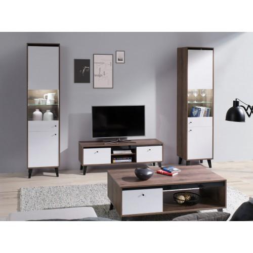 Kolekcja Fotyn Gloss IX - zestaw mebli do salonu witryna szafka RTV ława