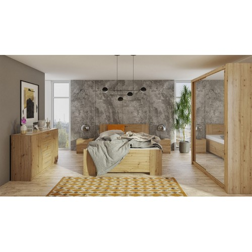 Kolekcja Aretas II - zestaw mebli do sypialni komoda łóżko szafka nocna szafa