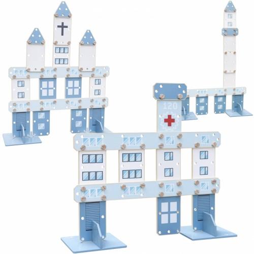CLASSIC WORLD Ogromne Klocki Konstrukcyjne Drewniane Zestaw Szpital Kościół Wieża