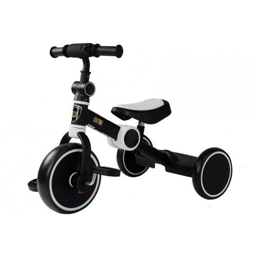 Rower Na Pedały Biegowy Trójkołowy Czarno-Biały