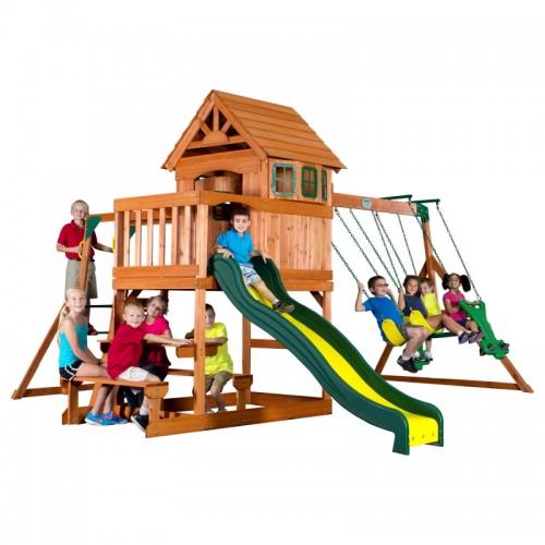 Backyard Discovery Springboro drewniany plac zabaw 7w1 wykonany z drewna cedrowego