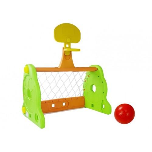 Bramka Piłkarska Koszykówka 2w1 Dla Dzieci Zielono Pomarańczowa