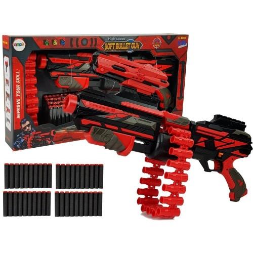 Duży Pistolet Karabin Na Piankowe Naboje 40 Sztuk Czerwono- Czarny Celownik