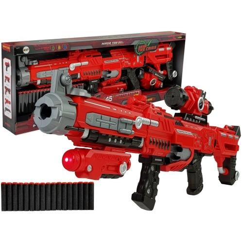 Duży Pistolet Na Piankowe Naboje Laser Celownik Dźwięk Zasięg 45 m  75 cm Długości