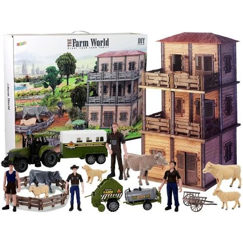 Duży Zestaw Do Złożenia Farma Traktor Zwierzęta Zagroda DIY